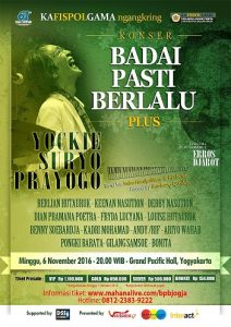 Poster konser musik Badai Pasti Berlalu Kafispolgama. (foto : istimewa)